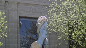 Located just west of the entrance to the DuSable Museum, Unconditional Love portrays two figures