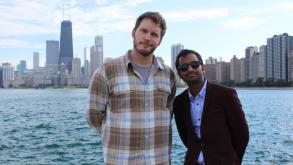 Actors Chris Pratt & Aziz Ansari from NBC's Parks and Recreation filming at North Avenue Beach.