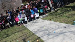 Ready...Set...Go!  The kiddos at Clarendon Park are ready for the egg hunt!