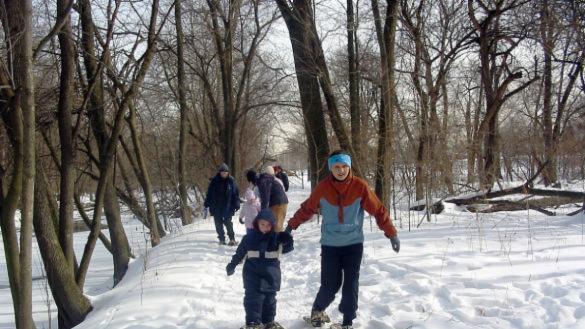 Snow trekking at Burnham