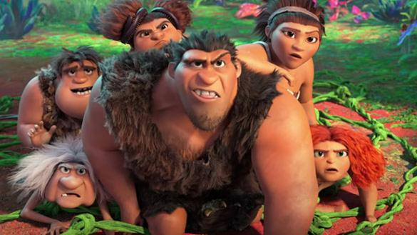 Seven members of the prehistoric Croods family