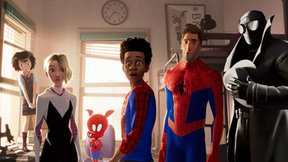 Miles Morales, an African American teen Spider-Man, stands with 5 other Spidey heroes from alternate universes.