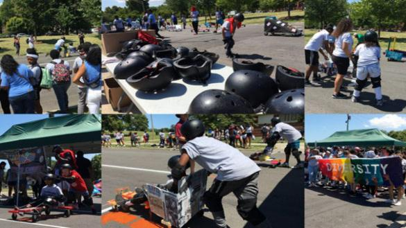photo montage of skate boarders, boards, and helmets