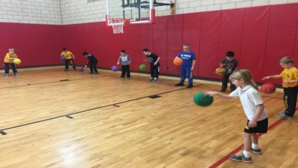 Kids showcasing their skills at the annual gym showcase