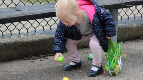 little girl hunting for eggs!
