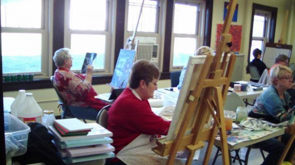 Adults painting at Mayfair