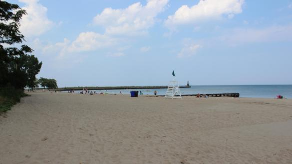 Visitors enjoy a sunny afternoon at a Chicago beach.