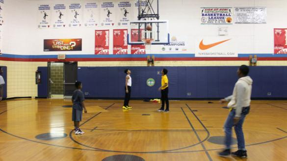 Basketball in the gym at Franklin Park