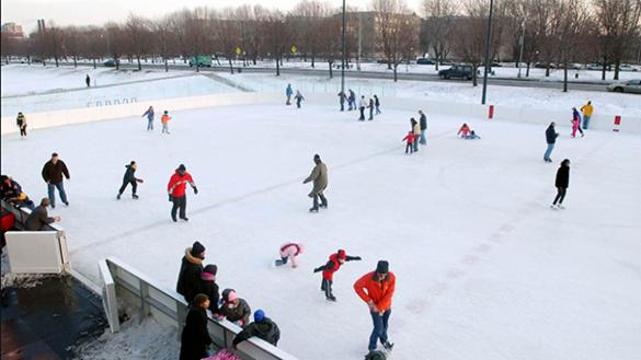 Skaters enjoy time spent on the rink at Midway Plaisance Park.