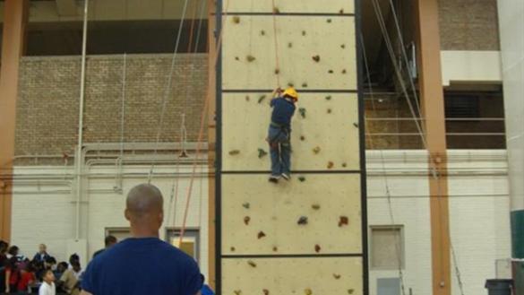 Climbing wall at Broadway Armory