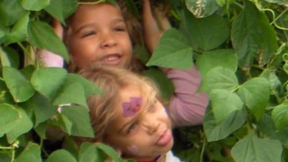 Kids enjoy nature based play at the Kilbourn Park Children's Garden.