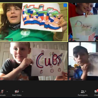 Kids show off their creations in a Graffiti Art online class.