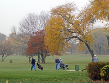 A group enjoys a beautiful fall day on a Chicago Park District golf course.