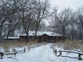 Snowy day at North Park Village Nature Center