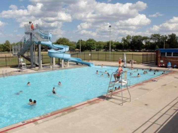 Overview of Norwood Park pool with slide.