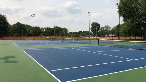 newly renovated tennis courts at River Park