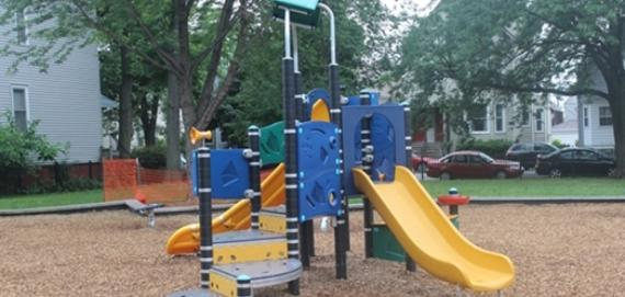 Stop by and enjoy the playground at Elston Playlot Park