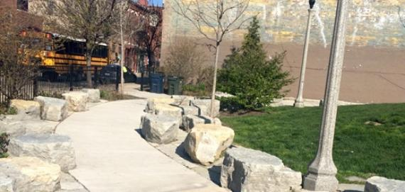 Walking path and stone seats at Park 567