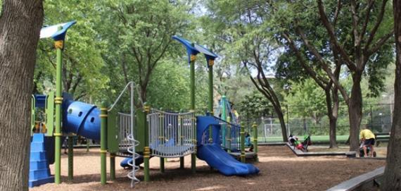Shady area at the PottawattomePark playground.