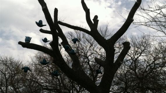 Blue bird sculptures sitting on branches of dead tree