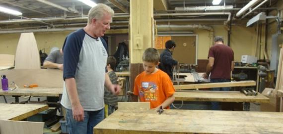 Woodshop boat building class at Lincoln Park Cultural Center
