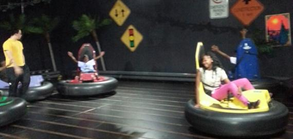 Our local teens enjoying the bumper cars...field trip.