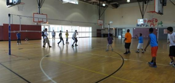 Participants getting active with a nice game of volleyball