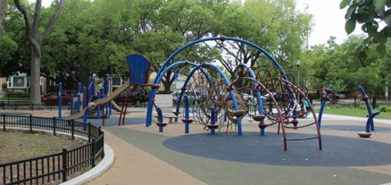 Overview of Mather Park playground.