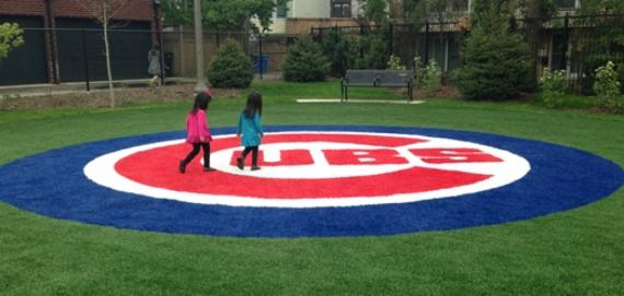 Checking out the mini Cubs field at Margaret Donahue Park.