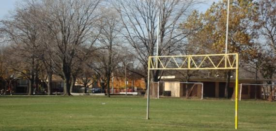 Mather Park athletic fields - football, soccer and baseball.