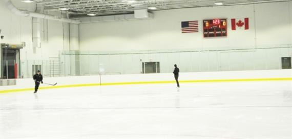Enjoying a spin on the ice rink