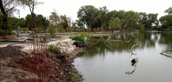 Overview of the fishing pond at West Ridge Nature Park.