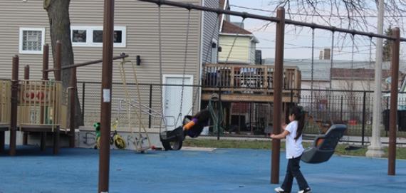 Swinging away at Aiello Park.