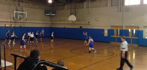 Girls basektball league in the gym at Welles Park