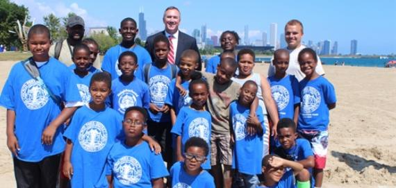 General Superintendent and Lake Meadows Park Campers celebrate