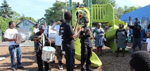Davis Park Ribbon Cutting, part of the Chicago Plays! Playgrounds