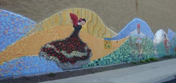 Colorful mosaic at Chase Park created by our local teens.