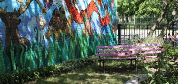 Mural and seating area at Brynford Park
