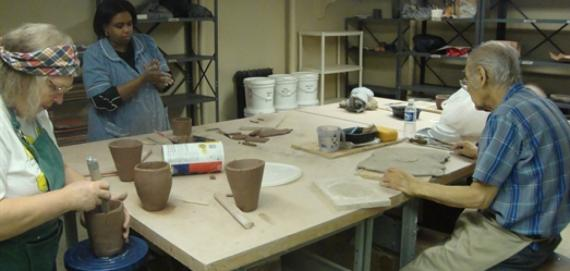 Handbuilding ceramics at Berger Park Cultural Center