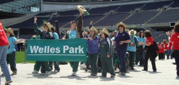 Welles Park Athletes Marching in Special Olympics Opening Ceremony at Soldier Field