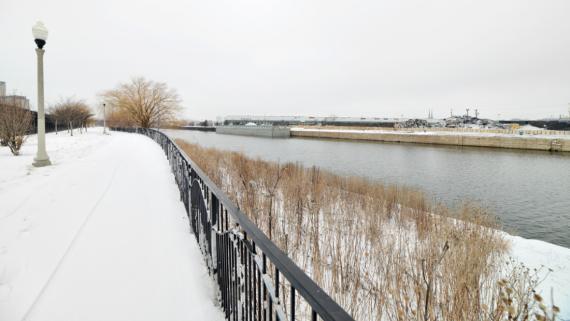 Wintertime views at Canalport Riverwalk Park!