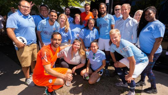 Manchester City players with our staff!