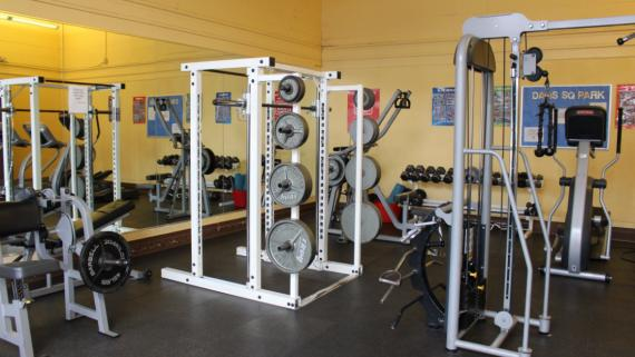 The fitness center at Davis Square