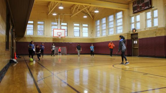 After-school fun in the gym at Davis Square!