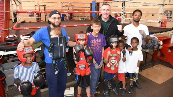 Superintendent Mike Kelly in the boxing gym at Davis Square