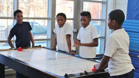 After-school air hockey