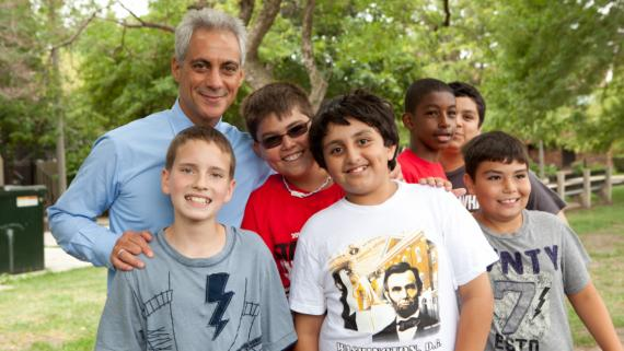 Sheridan Summer Day Campers with Mayor Emmanuel