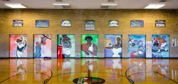 Murals in the gym at Kennicott
