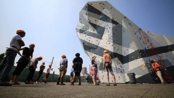 The climbing wall at Maggie Daley