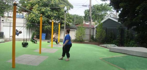 Having fun on the swings!